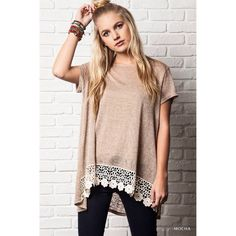 """CLEARANCE """"Oasis"""" Mocha Crochet Hem Top Mocha crochet hem tee for a comfy, casual look. Brand new without tags. No trades. True to size. Bare Anthology Tops"""