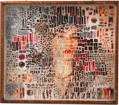 Boxes created with photographic fragments on pins by New York-based artist Michael Mapes.