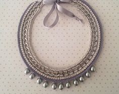 Crochet Statement Necklace - Handmade Necklace with Majorica Pearls  - Costume Jewelry