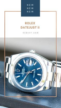 Cool off with this stainless steel Rolex Datejust II 126300 Men's watch featuring a breezy blue 41mm dial with luminous markers and an Oyster bracelet. 🌊💦 Rolex Datejust Ii, Stainless Steel Rolex, Rolex Watches For Men, Pre Owned Rolex, Markers, Bracelet, Crystals, Blue, Accessories