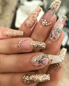 8 Beautiful Nail Art Designs for Short Nails – Tech the bite Fancy Nails, Cute Nails, Pretty Nails, Pink Bling Nails, Fancy Nail Art, Glam Nails, Fabulous Nails, Gorgeous Nails, Dead Gorgeous