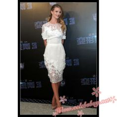 Rosie Huntington-Whiteley 'Transformers 3′ Press Conference Shanghai white lace dress $139.99 each at Celebsbuy.net