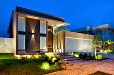 Fachadas de casas modernas com paisagismo e ilumina��o!