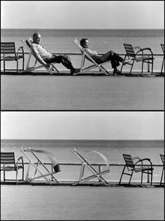"""""""This is likely to be the cover of my upcoming """"Sequences"""" book. It shows two people sunning themselves and then being blown out of their chairs by a strong wind. Its taken in Cannes, France."""""""