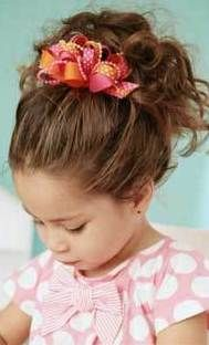 Hair Updo With Pretty Ribbon For Girls