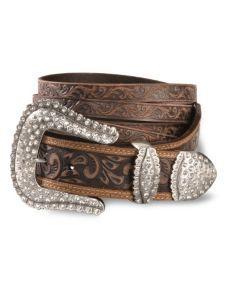 Tony Lama Split Strap Tooled Leather Belt