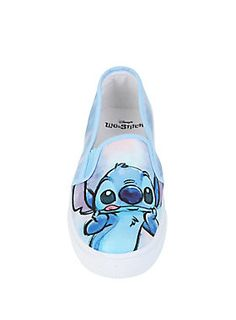 <p>Blue slip-on shoes from Disney's Lilo & Stitch with an image of Stitch on the toes. </p>  <ul> 	<li>Man-made materials</li> 	<li>Imported</li> 	<li>Listed in women's sizes</li> </ul>