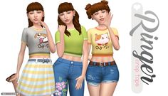 Ringer Crop Tops - ♪ One fine day with a woof and a purr ♪… just kidding. I separated the cat/dog graphic tops from the City Living full body outfit. The top comes in all 13 original EA swatches + 11...