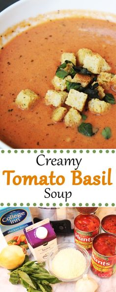 This creamy tomato basil soup is easy and so hearty! It's An easy soup to make and it can be made in the slow cooker! This creamy tomato basil soup is easy and so hearty! It's An easy soup to make and it can be made in the slow cooker! Easy Soup Recipes, Dinner Recipes, Healthy Recipes, Keto Recipes, Tomato Soup Recipes, Dessert Recipes, Basil Recipes, Cheap Recipes, Quiche Recipes