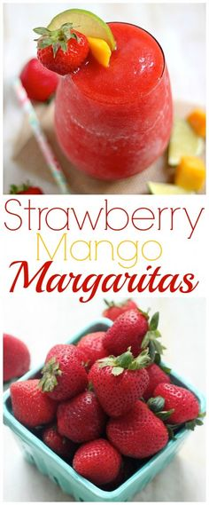 Strawberry Mango Margaritas - celebrate the weekend (or the week!) with an icy cold margarita! Sweet, refreshing, and ready in minutes!