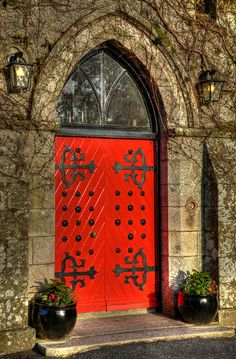 Barretstown Castle, Ireland.  The hot, hot red orange against the mossy green and grey - perfection!