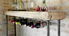"""Reclaimed wood indistrial Wine Bar and Rack (150 year plus """"old growth"""" wood in thinner top 1.65"""") free shipping 48""""  l x 11.5"""" w x 35"""" tall. $395.00, via Etsy. Wijnbar"""