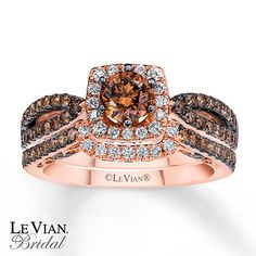 LeVian Chocolate Diamonds 1 3/8 ct tw Bridal Set 14K Gold