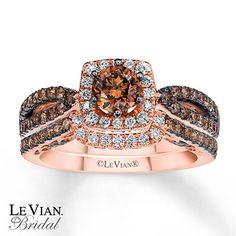 LeVian Chocolate Diamonds 1 3/8 ct tw Bridal Set 14K Gold