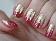 "Glitter gold & cardinal nails -- I can see ""fail"" if I tried this. #ISUWinningForPinning"