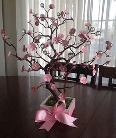 Cherry blossom manzanite tree centerpiece with por DivineCrafted