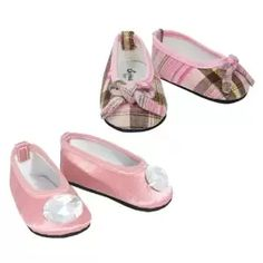 Amazon.com: 2 Pr. 18 Inch Doll Shoes Set fits American Girl Dolls - Pink Plaid & Pink Satin Jeweled Doll Shoes, Plaid and Satin Doll Shoes: Toys & Games
