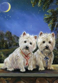 Suzanne Renaud.WESTIE/CAIRN TERRIER MOONLIGHTERS FLAG RESCUE FREE SHIP USA #FLAG