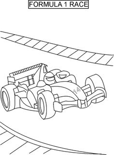 Track Race Car Coloring Page