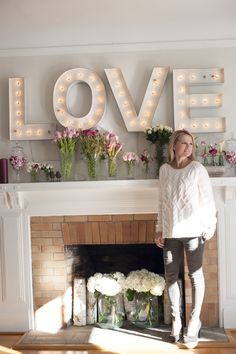 Valentine's Day DIY Tip Pimp out your mantle! Marquee letters from RH kids allow the emotion to be scattered across the mantle for a rustic look and a special moment that celebrates more than the holiday. Marquee Letters, Marquee Lights, 3d Letters, Style Me Pretty Living, My First Apartment, Romantic Homes, Beautiful Mess, Simply Beautiful, Project Nursery