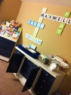 Love this! Words and baby's name in scrabble layout.