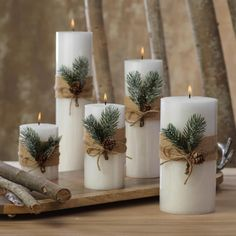 Siberian Fir Fragranced Pillar Candles The Effective Pictures We Offer You About DIY Candles no wax A quality picture can tell you many things. You can find the mo Christmas Decorations For The Home, Farmhouse Christmas Decor, Christmas Candles, Xmas Decorations, Christmas Centerpieces With Candles, Christmas Table Centerpieces, Christmas Table Settings, Decoration Table, Simple Christmas