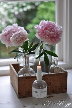 Beautiful flowers  bottled candles