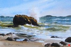 Waves Against the Shore by Poppy Balser Watercolor ~ 7 x 10