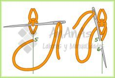 Punto de cadeneta en cordón (Braided Chain Stitch / Heavy Chain Stitch) - 3