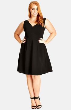 Free shipping and returns on City Chic 'Scallop Edge' V-Neck Dress (Plus Size) at Nordstrom.com. A sleeveless dress flirts as it flatters in a fit-and-flare silhouette topped with a scalloped V-neckline in front and back.