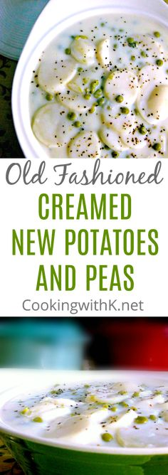 Old Fashioned Creamed New Potatoes and Peas in a White Sauce {Granny's Recipe} Potatoes And Peas Recipe, Creamed Peas And Potatoes, Pea Recipes, Vegetable Recipes, Cooking Recipes, What's Cooking, Potato Recipes For Dinner, Cajun Cooking, Cooking Bacon