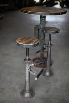 Hey, I found this really awesome Etsy listing at https://www.etsy.com/listing/202208343/reclaimed-steel-and-wood-bar-stools