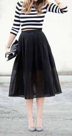 Stripes Crop T + Midi Skirt