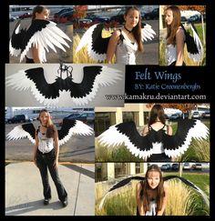 Felt Wings .:. Black and White by Kamakru on DeviantArt