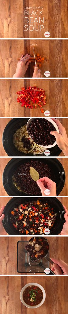 Slow Cooker Black Bean Soup Hearty, healthy and delicious  Prep Time: 10 minutes | Cook Time: 4 hours | Serves: 6-8  This black bean soup is a family favorite. It's hearty and delicious, but healthy too. It will keep everyone coming back for more, until their tummies are stuffed.