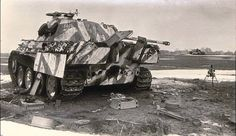 A abandoned Panther V Ausf G with a interesting camo pattern