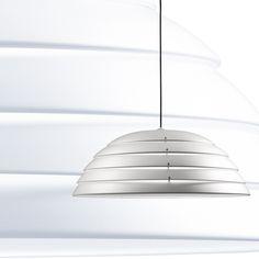 Lampe suspension  lumi¨re directe en aluminium tourné et peint  l