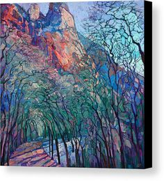 Journey Through Zion Canvas Print by Erin Hanson. All canvas prints are professionally printed, assembled, and shipped within 3 - 4 business days and delivered ready-to-hang on your wall. Choose from multiple print sizes, border colors, and canvas materials.