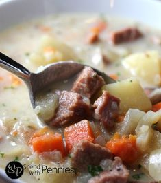 Easy Ham & Potato Crockpot Soup Love it?  Pin it to SAVE it! Follow Spend With Pennies on Pinterest for more great recipes! One of my very best friends made this delicious soup for me for lunch the other day!  It was a chilly day and this warmed me from the inside out!  I can't …