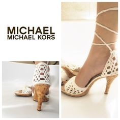 FLIRTY & Oh so girly! MK lace up crochet sandals! Michael Kors wants you to ring in the warmer months in the cutest way possible, w/ these gorgeous lace up crochet sandals! Size 7.5 so I added cushioned insoles to prevent slip. The insoles do not make these any tighter for a traditional 7.5 foot- just more comfy. Minor wear at the tips of the ties (attempted to photograph but it's tough to see)-  no other staining- see pics- you know these won't last! Make me an offer! The color is more…