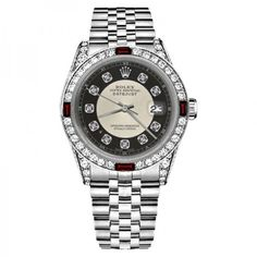 Pre-owned Rolex Datejust Silver Tuxedo Dial Ruby & Diamond Accent RT... (10,980 BAM) ❤ liked on Polyvore featuring jewelry, watches, water resistant watches, silver jewelry, i love jewelry, rolex watches and dial watches