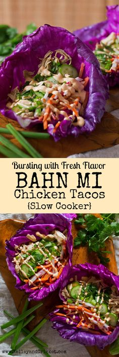 These tasty Bahn Mi Chicken Tacos are packed with fresh and bright flavor. They make the perfect healthy weekday dinner. All you got to do is just set it and forget it in the SLOW COOKER and your Bahn Mi tacos will be ready by dinner time! This recipe is Slow Cooker Recipes, Paleo Recipes, Asian Recipes, Crockpot Recipes, Whole Food Recipes, Chicken Recipes, Cooking Recipes, Paleo Meals, Planning Menu