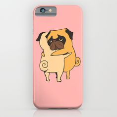 """Pug Hugs"" iPhone Case by Huebucket on Society6."