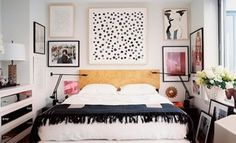 Art, lights 7 Inspiring Ideas for the Wall Above Your Bed