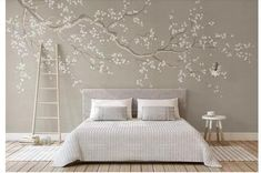 One Large Crooked Cherry Branch Wallpaper Wall Mural, Abstract Cherry Blossom Flowers and Birds Chinoiserie Wall Mural Wall Decor - Nappali Design Open Wall, Cleaning Walls, Make Design, Design Design, Wall Wallpaper, Bedroom Wallpaper, Painting Wallpaper, Wallpaper Wallpapers, My Room