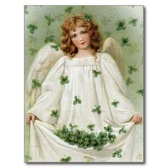 Shamrock Angel - A Vintage St. Patrick's Day greeting card illustration - circa This image is part of a collection of 12 Vintage St Patrick Art images Saint Patricks Day Art, St Patricks Day Cards, Vintage Postcards, Vintage Images, Vintage Cards, Vintage Clip, Photo Postcards, Art Magique, St Patrick's Day