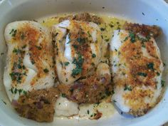 Baked Stuffed Fish  3- 4 lb Drum or rock deboned, butterflied leaving one side attached 2 cups seasoned bread stuffing 1 onion sliced sauteed 4 tbsp butter melted Salt/ Pepper to taste 3 slices bacon  Mix Bread stuffing, salt, pepper,sauteed onion,and melted butter. Open fish butterflied,season inside of fish, place stuffing one one side, close, Tie closed with cooks twine. Lay bacon slices on top of fish. Bake at 350 for about 40-60 minutes or until fork flaky. Serve boiled buttered potatoes.