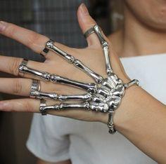 #aestheticbracelet #grungebracelet #grungejewelry #grungerings #egirlbracelet #egirlrings #egirljewelry #gothbracelet #punkbracelet Skeleton Hand Bracelet, Hand Bracelet With Ring, Skeleton Hands, Skull Bracelet, Ring Bracelet, Hand Ring, Metal Bracelets, Silver Bracelets, Bracelets For Men