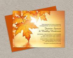 DIY Printable Fall Wedding Invitations With Leaves, Fall Invitation Cards With Orange Autumn Leaves, Fall Leaves Wedding Invites