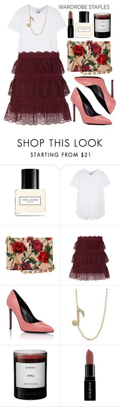 """Wardrobe Staple: White T-Shirt"" by alaria ❤ liked on Polyvore featuring Marc Jacobs, Iris & Ink, Dolce&Gabbana, self-portrait, Yves Saint Laurent, Bianca Pratt, Byredo, Smashbox and WardrobeStaple"